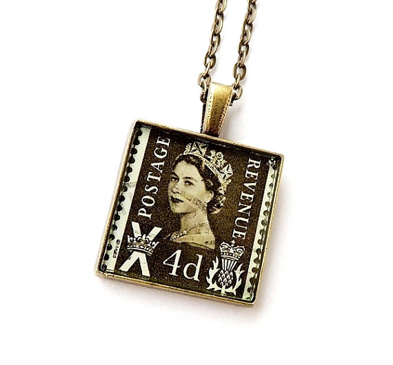 Postage Stamp Resin Necklace (1612