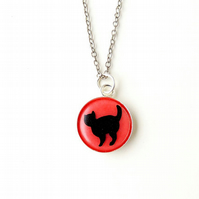 Black Cat in Pink Resin Necklace (1801)