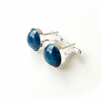 Blue Resin Cabochon Cufflinks (2354)