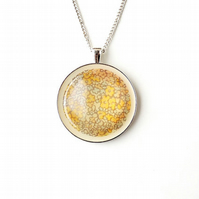 Yellow & Cream Flower Fabric Resin Necklace (1885)