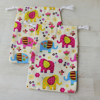 2 x Drawstring Gift Bags with Elephants for Jewellery or Small Items, (GB06)