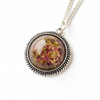 SALE: Heather Flowers Resin Cabochon Necklace (2068)