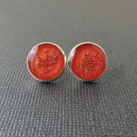 Orange & Gold Stud Earrings (1712)