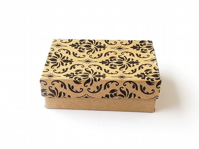 Gift Box, Brown Damask Pattern, Kraft Gift Box, Jewellery or Small Items (GB03)