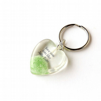 Green Love You Lots Like Jelly Tots Resin Heart Keyring (513)