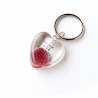 Purple Love You Lots Like Jelly Tots Resin Heart Keyring (564)