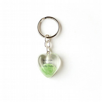 Green Love You Lots Like Jelly Tots Resin Heart Keyring (1988)