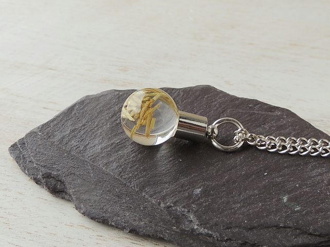 Rosemary Necklace, Herbs in Resin inside a Glass Globe Pendant (2122)