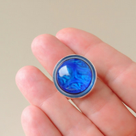 Blue Resin Cabochon Ring (149)
