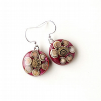 Dark Red Snail Earrings - SALE (023)