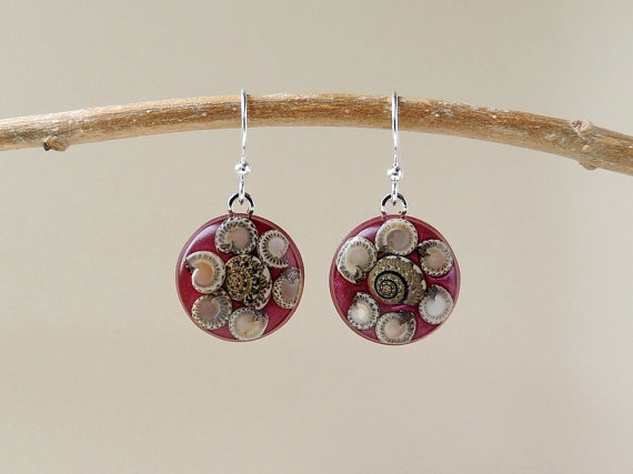 Burgundy Snail Resin  Drop Earrings (023)