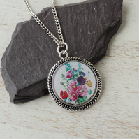 Hollyhock Flowers Necklace - SALE (1952)