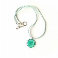 Green Pendant on Faux Suede Necklace (2267)