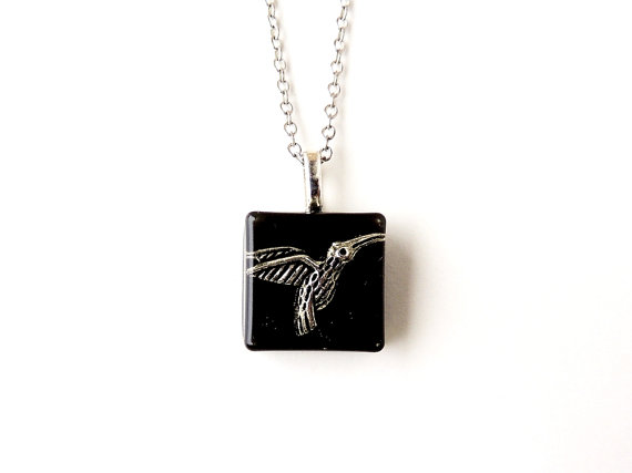 Black Hummingbird Necklace - SALE (1602)