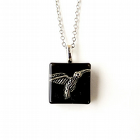 SALE: Black Hummingbird Necklace (1602)