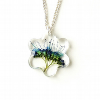 Blue Flower Resin Necklace (404a)