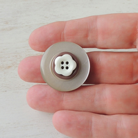 Brown Button Ring - SALE (1085)