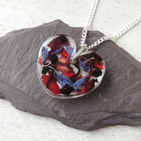 Fruit Tea Resin Heart Necklace (1543)