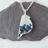 Blue Flower Bird Necklace (1645)