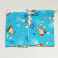 2 x Blue Drawstring Gift Bags with Monkeys for Jewellery or Small Items, (GB02)