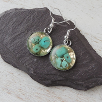 Turquoise & Gold Earrings - 1302a