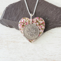 Sixpence and Flower Resin Heart Necklace - 1744