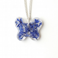 Blue Cornflower Butterfly Necklace - 2384