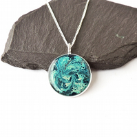 Blue Marble Pattern Necklace - 1140F