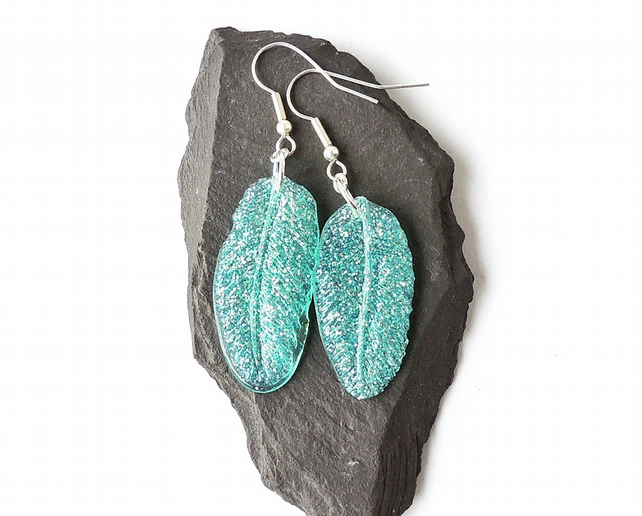 Blue Glitter Resin Feather Earrings, SALE - 2324
