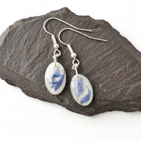 Blue Cornflower Petal Earrings - SALE 1874a