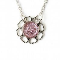 Pink Glitter Necklace - 184