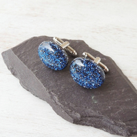 Blue Glitter Cufflinks - SALE (109)