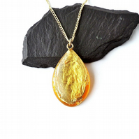 Yellow & Gold Foil Resin Pendant on Gold Plated Chain - 1180