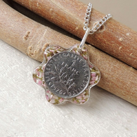 French Coin Flower Necklace - 425