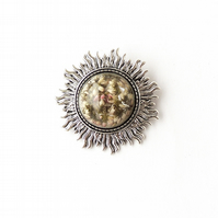 Large Flower Brooch, Silver - 1558b