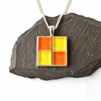 Orange & Yellow Mosaic Pendant - 1365