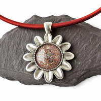 Flower Pendant on Silk Cord Necklace, Double Sided - 884