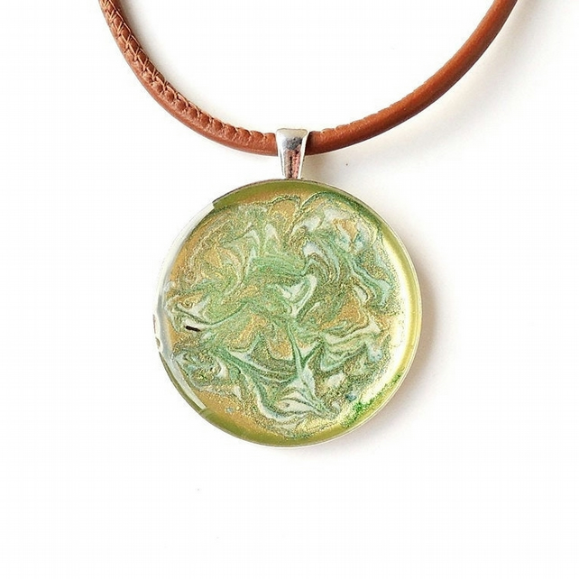 Green & Gold Pendant on Leather Necklace - 2023