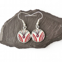 Purple & Red Abstract Drop Earrings, SALE - 797