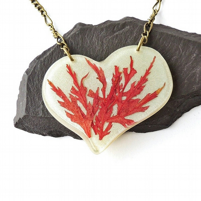 Large Red Acer Leaf Necklace - 951a