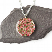 Round Pink Heather Necklace - 1883