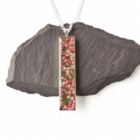 Long Pink Heather Necklace - F012