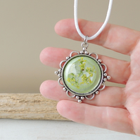 Green Flower Necklace on White Cord Necklace - F011