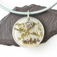White Heather Necklace on Silk Cord - F010