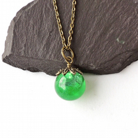 Green Resin Globe Necklace, Antique Bronze - F008
