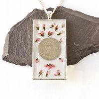 1949 Sixpence & Flowers Necklace - 1357