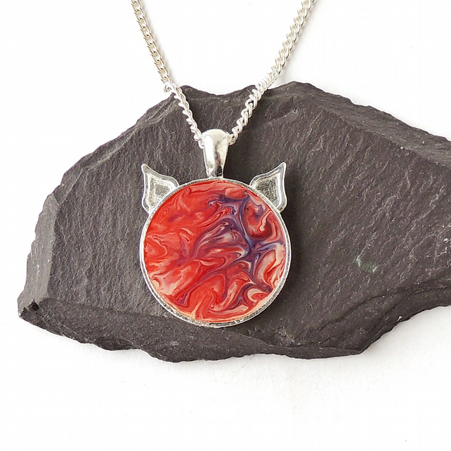 Red Marble Pattern Cat Necklace - F007