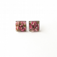 Small Square Flower Stud Earrings, Stainless Steel, SECONDS - 363a