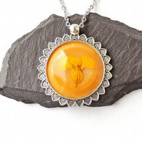 "Orange Flower Necklace, 18"" Chain - F021"