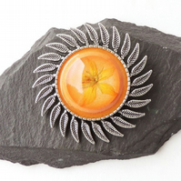 Orange Flower Brooch - F020